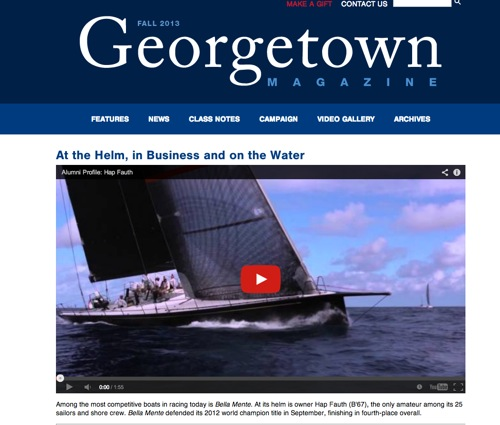 "Georgetown Magazine Fall 2012: ""At the Helm, in Business and on the Water"""