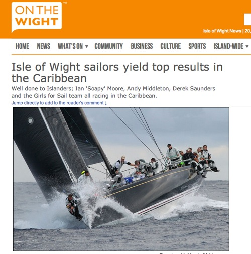 "On The Wight (UK) February 2014: ""Isle of Wight sailors yield top results in the Caribbean"""