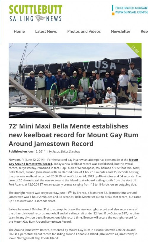 "Scuttlebutt Sailing News June 2014: ""Bella Mente establishes new keelboat record for Mount Gay Rum Around Jamestown Record"""