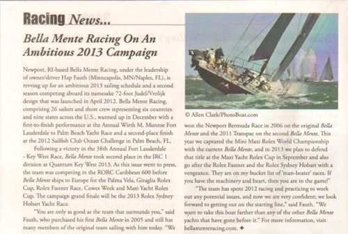 "WindCheck March 2013: ""Bella Mente Racing On An Ambitious 2013 Campaign"""