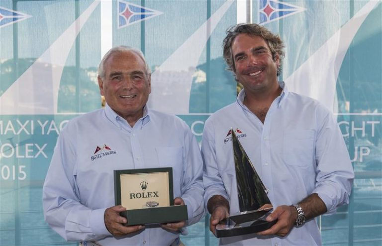Fauth with Boat Captain Peter Henderson after winning the 2015 Rolex Maxi 72 World Championships (Photo Credit: ROLEX / Carlo Borlenghi)